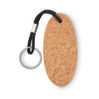 Ovalflytande nyckelring i kork med nyckelring i rep.