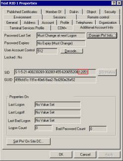 Screenshot showing the RID as part of a SID in the additional account information