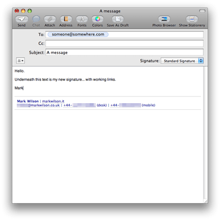 HTML signature in Apple Mail