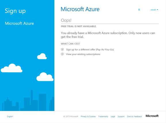 Azure - Free Trial is Not Available