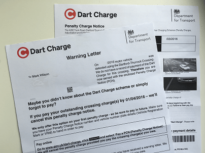 Dart charge warning letter and PCN