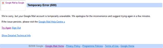 Google Mail server unavailable error