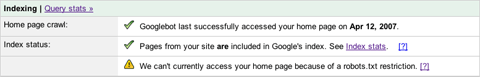 Screenshot showing that Google cannot access the homepage due to a robots.txt restriction