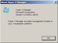 About dialog from RTM Version of Hyper-V Manager