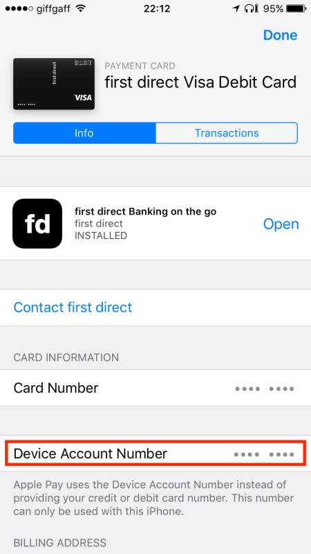 Device Account Number in Apple Wallet on iOS