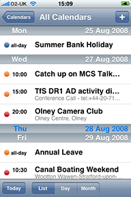 Multiple calendars in the iPhone Calendar application