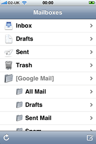 Folder list in Mail on the iPhone
