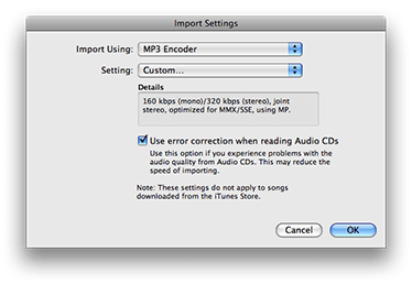 iTunes 8 Import Settings