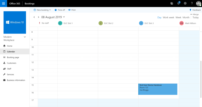 Microsoft Bookings, calendar view