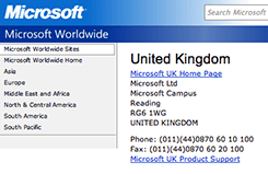 Incorrectly formatted phone number on Microsoft's website