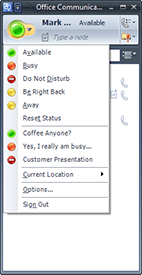 Custom presence states in Office Communicator