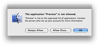 Parental Controls preventing application access on Mac OS X 10.5