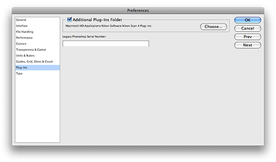 Enabling Nikon Scan in the Photoshop preferences