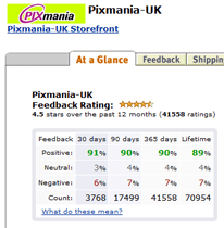 Part of Pixmania-UK Amazon storefront showing feedback