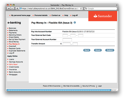 Screenshot of Santander web page with option to pay in money from an external account