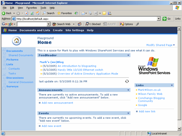 FeedReader webpart on a WSS page