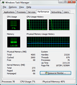 Windows Task Manager showing increased CPU utilisation as video rendering commences