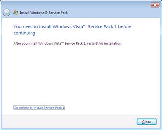 Windows Vista SP2 baulks if SP1 is not present