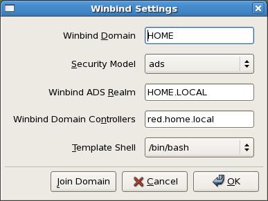 Winbind settings