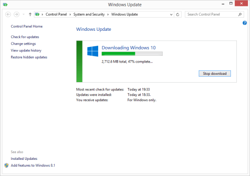 Installing Windows 10 via Windows Update