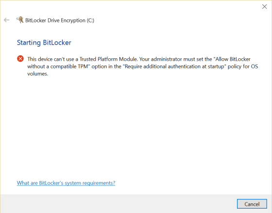 BitLocker error on PC without a trusted platform module