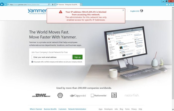 Blocking access to Yammer via IP - end user experience