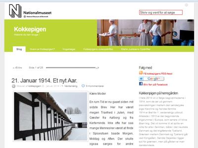 Screenshot des Küchenmädchen-Blogs des dänischen Nationalmuseums, das in ihren Briefen ihr Leben im Jahr 1914 schildert - das Jahr, in dem der erste Weltkrieg ausbrach.