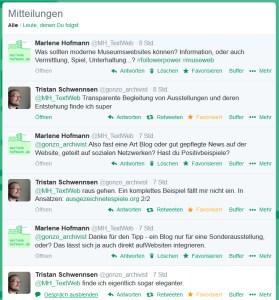 Ausschnitt aus meinem Twitter-Gespräch über Museumswebsite mit dem norddeutschen Archivar und Historiker Tristan Schwennsen.