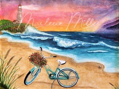 """Beach Cruisin"" alcohol ink painting"