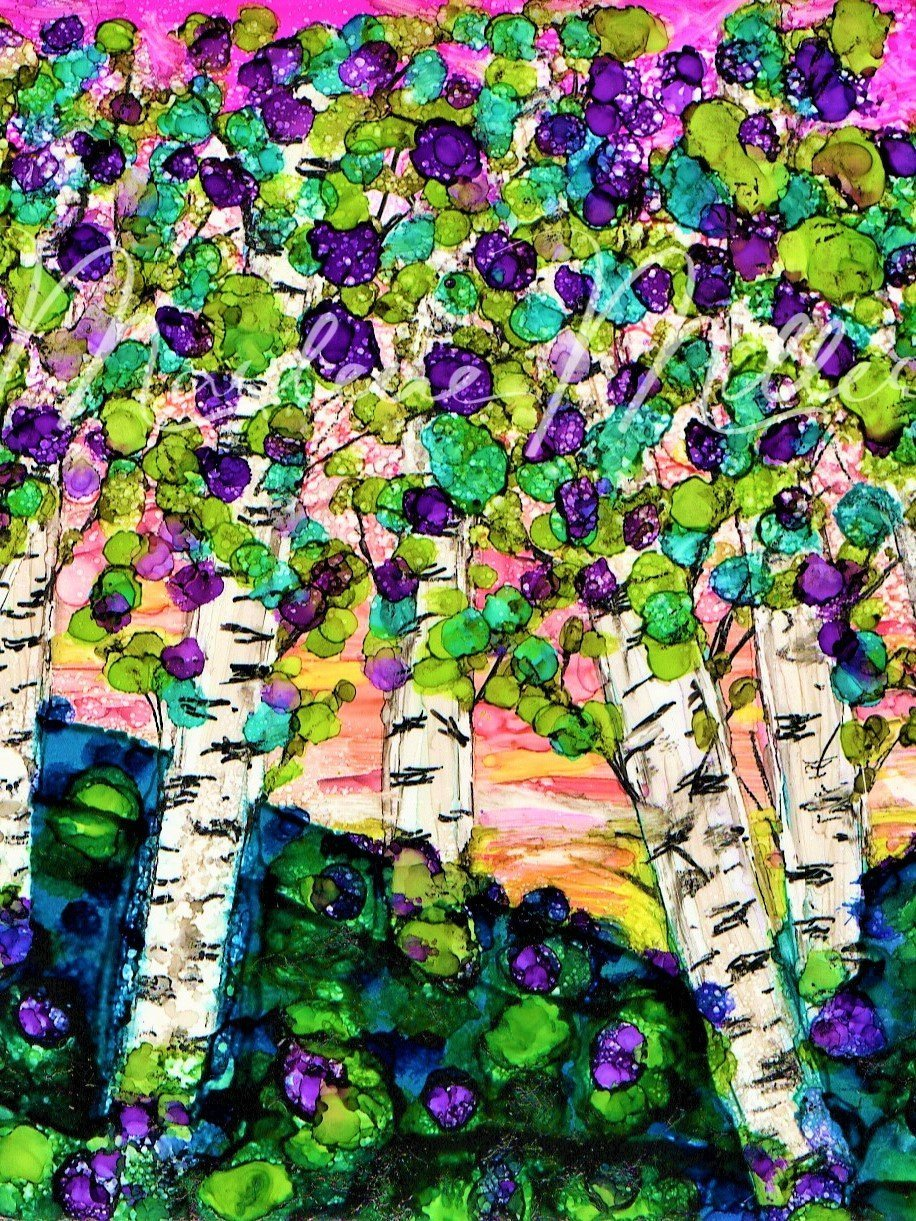 """""""Birch Tree Forest"""" alcohol ink painting"""
