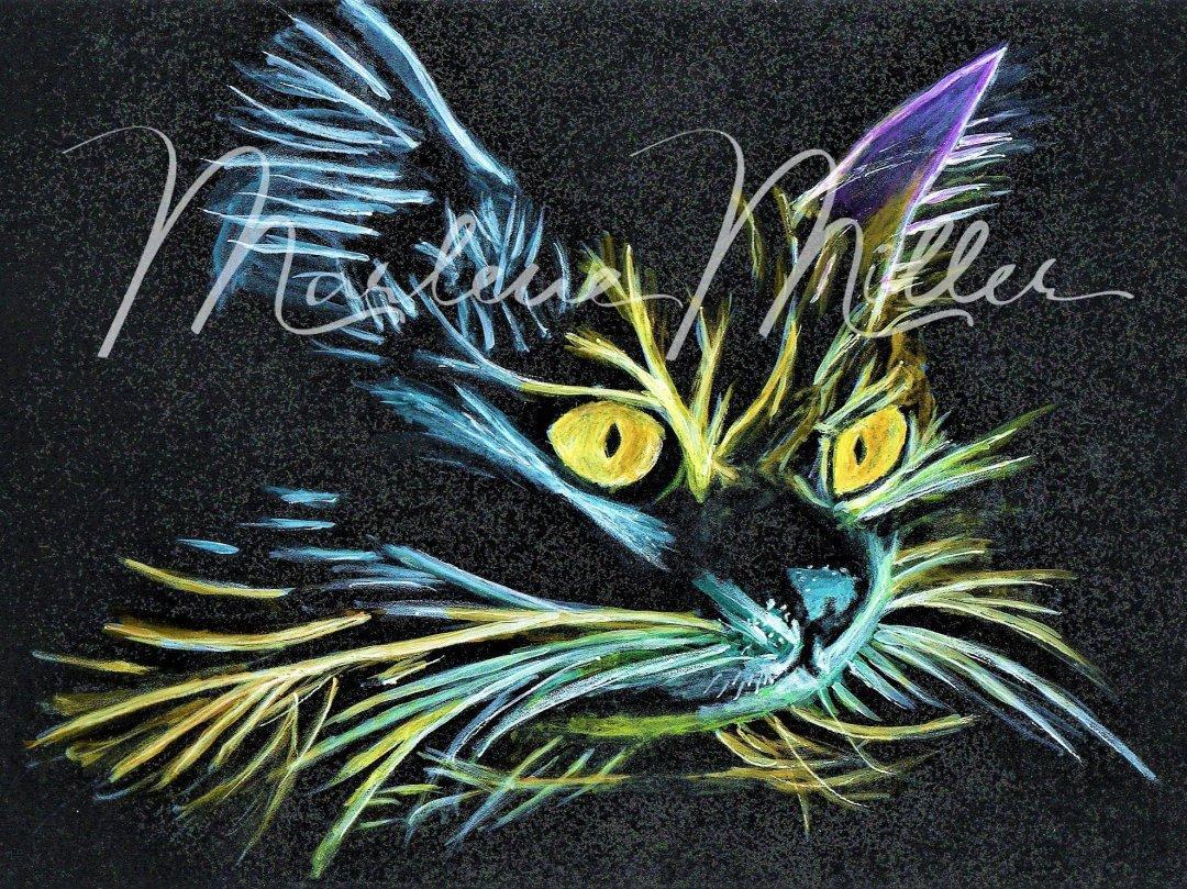 "Pet Portrait painting of ""Black Cat"" in alcohol inks."