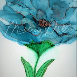 """""""Blue Floral Bloom"""" alcohol ink painting"""