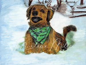 """Pet Portrait painting of """"Charlie's Snow Report"""" in alcohol inks."""