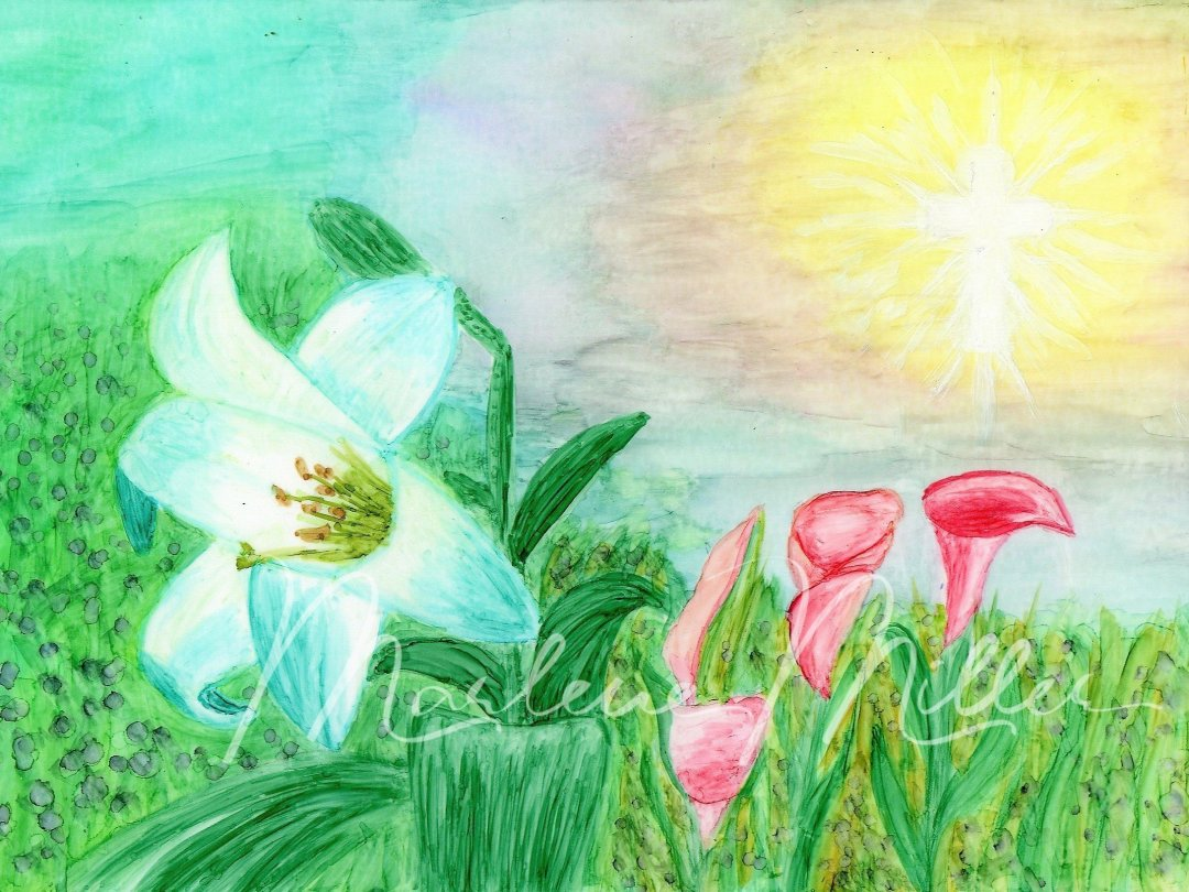 """""""Easter Lilies"""" alcohol ink painting"""