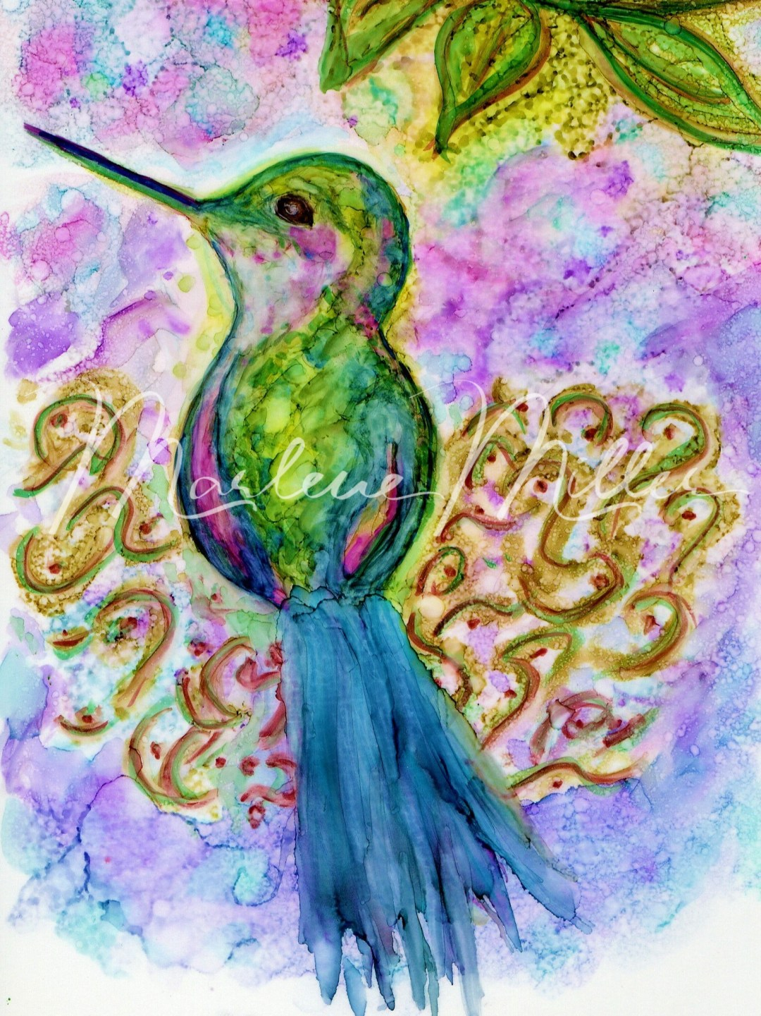 """Hummingbird Nest"" alcohol ink painting"