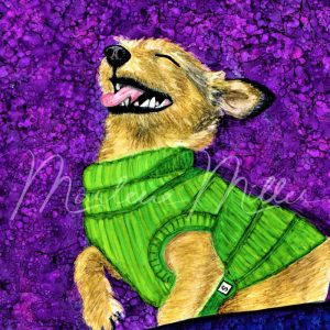 """Pet Portrait painting of """"Jolly Ollie"""" in alcohol inks."""