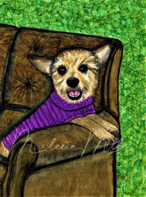 """Pet Portrait painting of """"Ollie"""" in alcohol inks."""