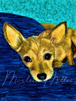 """Pet Portrait painting of """"Ollie's Favorite Pillow"""" in alcohol inks."""