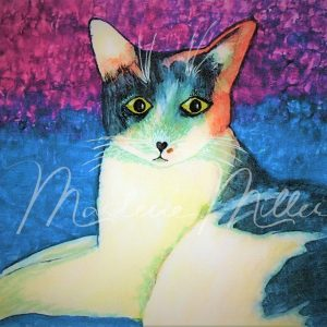 """Pet Portrait painting of """"Paisley"""" in alcohol inks."""