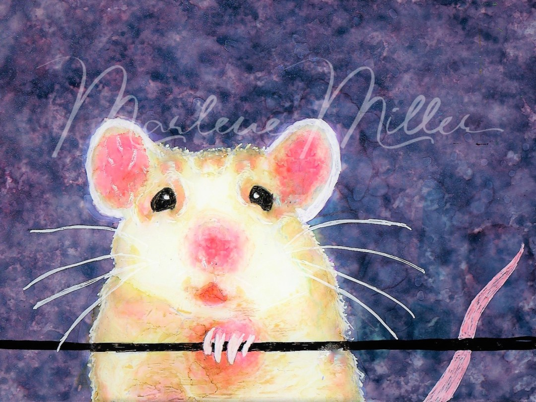 """Rattie"" alcohol ink painting"