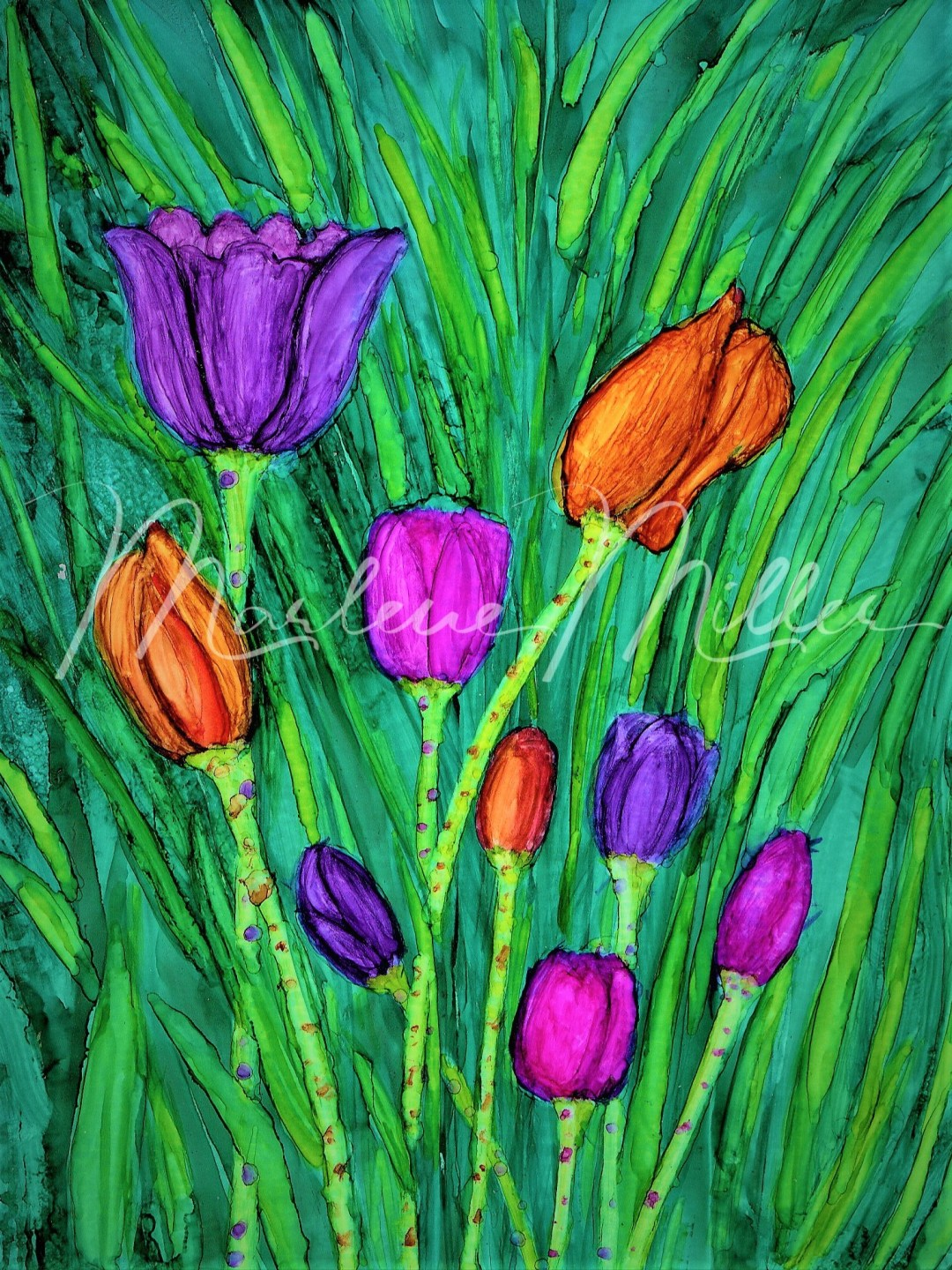 """""""Spring Tulips"""" alcohol ink painting"""