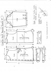Esquema de modelagem de Camisa Social Feminina tamanho 38.