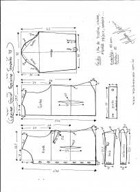 Esquema de modelagem de Camisa Social Feminina tamanho 48.