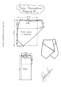 Molde de Saia Assimétrica tamanho 52.
