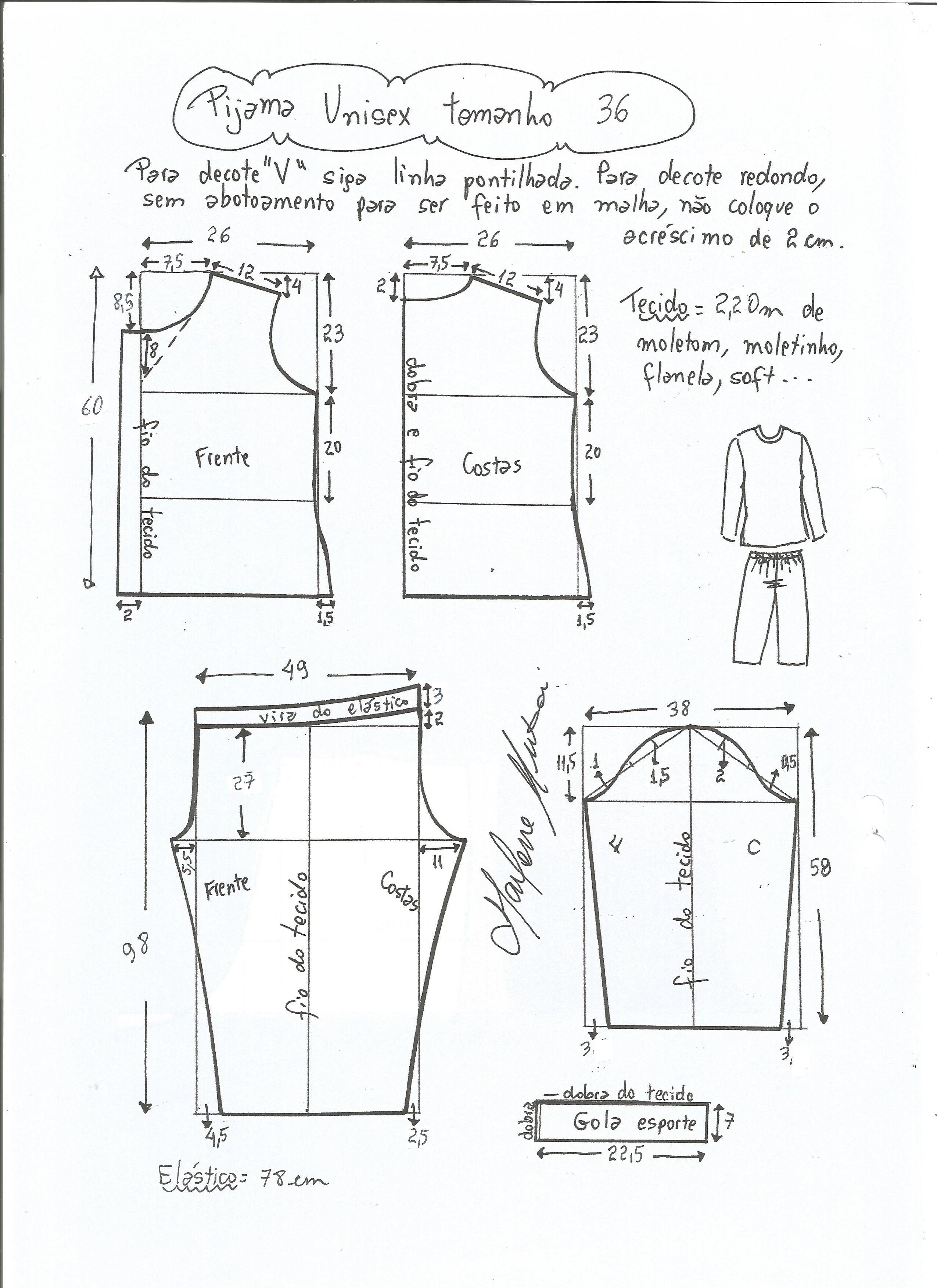 b4c534955 Esquema de modelagem de pijama unisex tamanho 36.