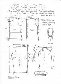 Esquema de modelagem de pijama unisex tamanho 46.