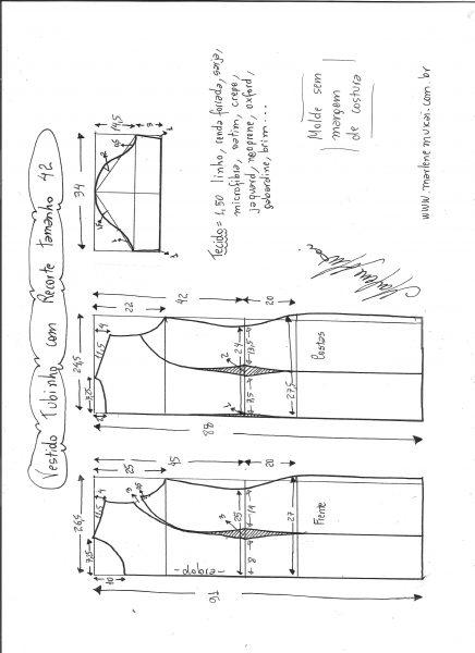 Esquema de modelagem de vestido tubinho com recorte tamanho 42.