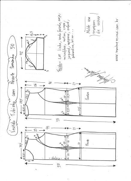 Esquema de modelagem de vestido tubinho com recorte tamanho 50.