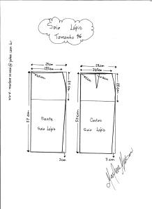 Esquema de Modelagem de Saia Lápiis tamanho 46.