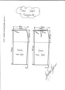 Esquema de Modelagem de Saia Lápiis tamanho 52.
